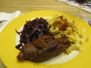 Rouladen, Noodles and Red Cabbage