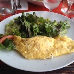 Plain omelet with salad